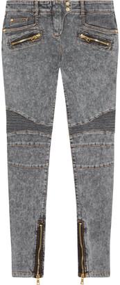 Balmain Moto-style Faded Low-rise Skinny Jeans