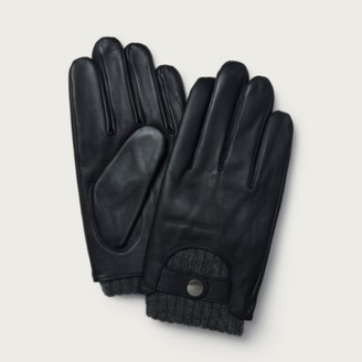The White Company Men's Leather Touchscreen Gloves, Black, S/M