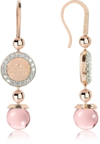 Rebecca Boulevard Stone Rose Gold Over Bronze Dangle Earrings w/Pink Hydrothermal Stone