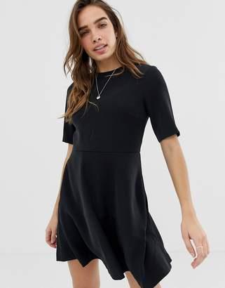 Calvin Klein flared satin dress-Black