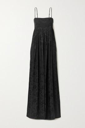 STAUD Villandry Pleated Floral-jacquard Jumpsuit - Black