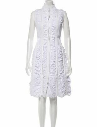 Alaia Mock Neck Midi Length Dress White