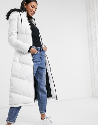 Brave Soul marcella long padded parka jacket with faux fur trim hood