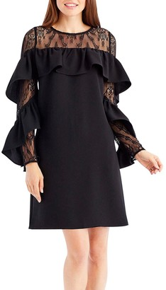 Nicole Miller Women's Long Ruffle Sleeve with lace Yoke Shift Dress