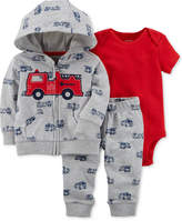 Carter's 3-Pc. Firetruck-Print Hoodie, Bodysuit & Pants Set, Baby Boys