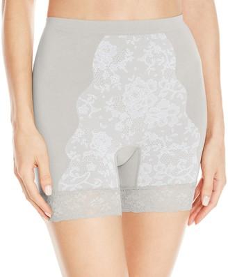 Ahh By Rhonda Shear Women's Seamless Stretch Full Coverage Natural Waist Boyshort Style Jacquard Printed Panty Grey 1X