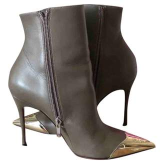 Christian Louboutin Grey Leather Ankle boots