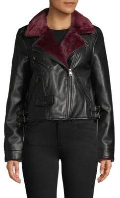 Vero Moda Faux Fur-Lined Faux Leather Jacket