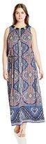 London Times Women's Plus-Size Paisley Maxi Dress