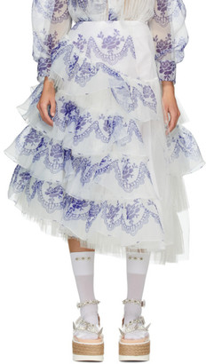 Simone Rocha Blue and Off-White Printed Skirt