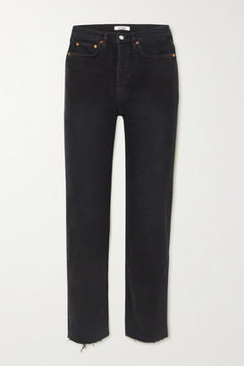 RE/DONE Stove Pipe Cropped Distressed High-rise Straight-leg Jeans - Black