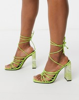 Asos DESIGN Nourish strappy sandals with marble heel in green