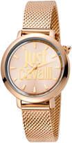 Just Cavalli 34mm Logo Stainless Steel Bracelet Watch, Pink/Gold
