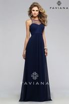 Faviana Humble Ruched Chiffon Dress with Illusion Sweetheart Neckline 7774E