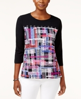 Alfred Dunner Petite Colorblocked Top