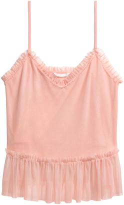 H&M Frill-trimmed mesh strappy top