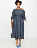 ELOQUII Plus Size Studio Off the Shoulder Chambray Dress