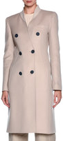 Giorgio Armani Double-Breasted Ribbed-Collar Coat, Sand