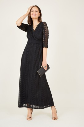 Yumi Wrap Front Lace Maxi Dress