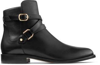 Jimmy Choo HARBY FLAT Black Smooth Leather Boots