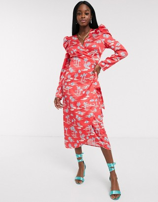 NEVER FULLY DRESSED wrap midi dress with puff sleeve detail in red palm print