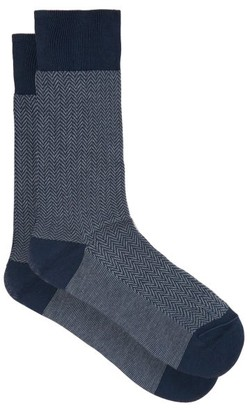 Pantherella Fabian Herringbone Cotton-blend Socks - Blue