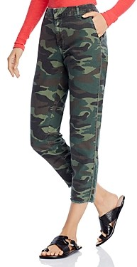 Sundry Cotton Camo Print Beaded Cropped Trousers