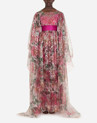 Dolce & Gabbana Long Dress In Lame Lace In Camellia Print