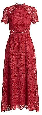 ML Monique Lhuillier Women's Lace Short-Sleeve A-Line Dress