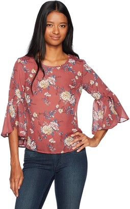 Jolt Women's Floral Print Bell Sleeve Criss Cross Back Top