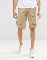 Asos Short In Longer Length With Cargo Pocket in Stone