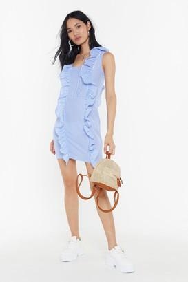 Nasty Gal Womens Gingham Ruffle Mini Dress - Blue