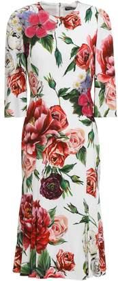 Dolce & Gabbana Floral-appliqued Crystal-embellished Crepe Dress