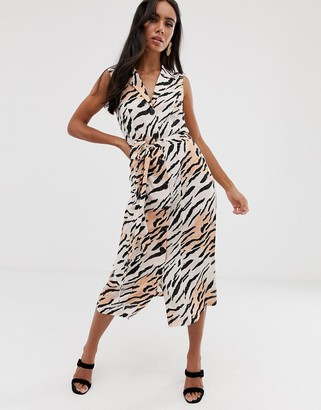 Asos Design DESIGN sleeveless button through midi shirt dress in animal print-Multi