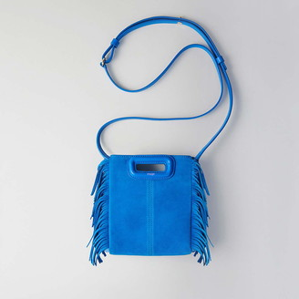 Maje Mini two-toned suede M bag with chain