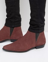 Asos Chelsea Boots In Burgundy Snake Suede Detail