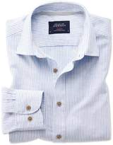 Charles Tyrwhitt Classic Fit Popover Mid Blue Stripe Cotton Casual Shirt Single Cuff Size Large