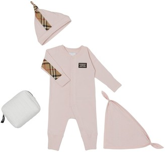 BURBERRY KIDS Check Trim Organic Cotton Three-Piece Baby Gift Set