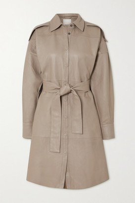 REMAIN Birger Christensen Lavare Belted Leather Shirt Dress - Taupe