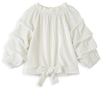Habitual Girl's Puff-Sleeve Stripe Velour Top