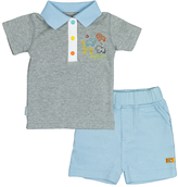Kushies Light Gray On Safari Tee & Shorts - Infant
