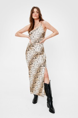 Nasty Gal Womens One Shoulder Abstract Satin Maxi Dress - Beige - 4