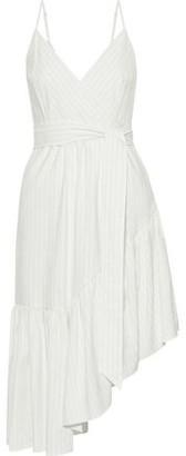 Marissa Webb Kierra Wrap-effect Asymmetric Pinstriped Woven Dress
