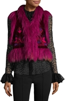 Anna Sui Women's Windsor Shearling Embrodeired Vest