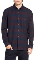 French Connection Trim Fit Stripe Flannel Sport Shirt