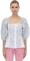 Ganni Striped Cotton Poplin Corset Shirt
