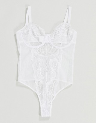 Ivory Rose Lingerie Ivory Rose Fuller Bust lace and mesh mix bodysuit in white