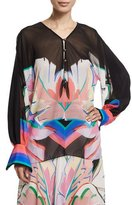 Roberto Cavalli Long-Sleeve V-Neck Printed Blouse, Black/Pink/Bright Coral/Blue