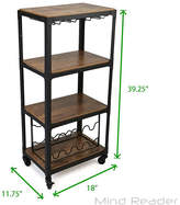 MINDREADER Mind Reader 4-Tier Wood and Metal Cart with Wine Rack