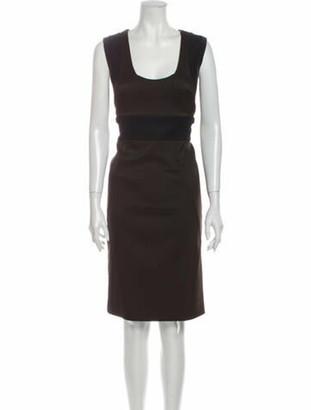 Gucci Scoop Neck Knee-Length Dress Brown
